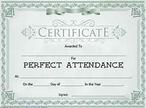 Perfect Attendance Certificate Template Free Sample Perfect Attendance Certificate Image Collections Certificate Design And Template