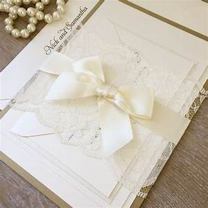 samantha gold and ivory lace wedding invitation ivory With wedding invitation ribbon belly band diy