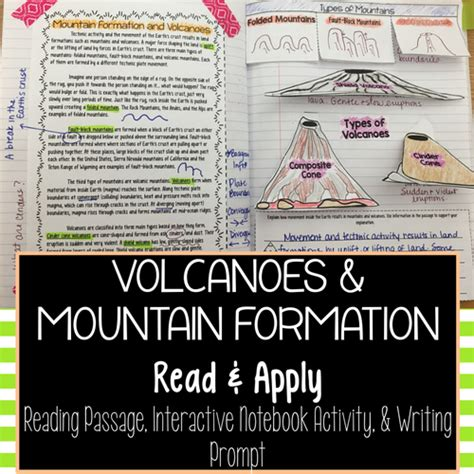 Volcanoes And Mountain Formation Reading Comprehension Interactive Notebook Activity By Jessica