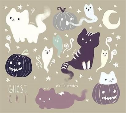 Cat Ghost Halloween Kawaii Illustrates Nk Doodles