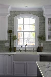 Green Brick Backsplash Tiles - Transitional - kitchen