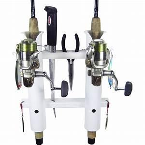 2 Rod Deluxe Fishing Rod Holder Rack White