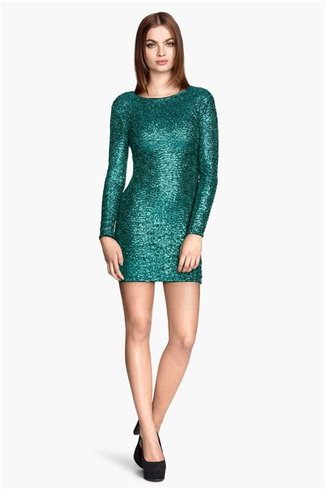 sequined dress green sale hm