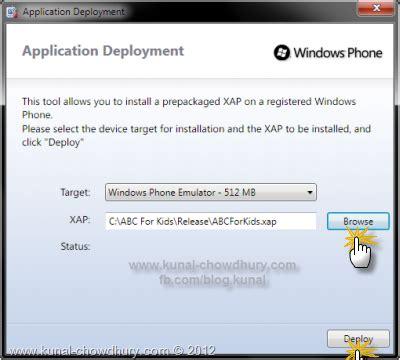 how to deploy xap file in a windows phone emulator kunal chowdhury
