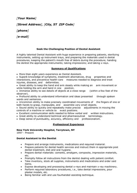 Dental Assistant No Experience Resume by Seek The Challenging Position Of Dental Assistant Resume Sle With Summary Of Qualifications