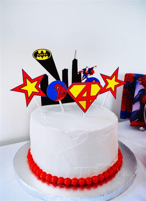 easy super hero birthday cake  printable cake toppers