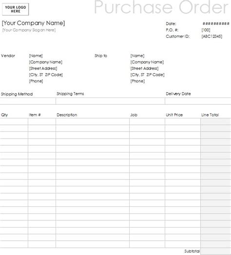 purchase order form exle