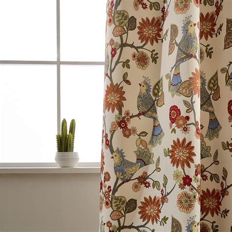 Pattern Drapes - american living curtains rustic home decor birds pattern