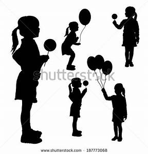 The gallery for --> Girl Holding Balloons Silhouette