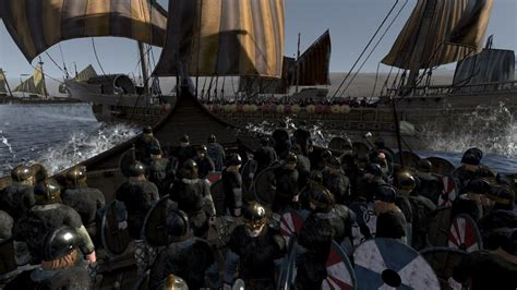 total war attila age  charlemagne viking beach