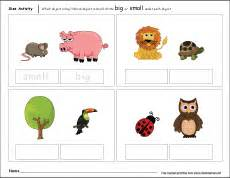 sizes big and small activity worksheet for preschool children