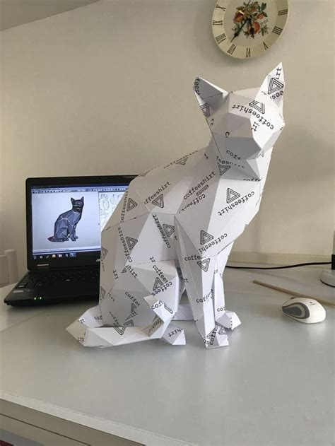 printable diy template  wise cat  poly paper
