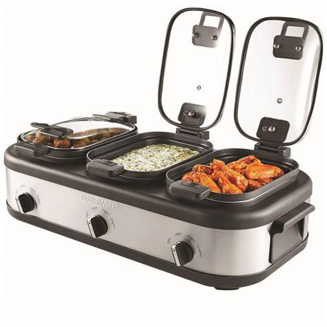 buffet cooker slow triple pot server aluminum stick non food