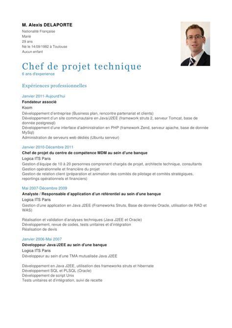 Curriculum Vitae For Sous Chef by Exemple De Cv Chef De Projet Informatique