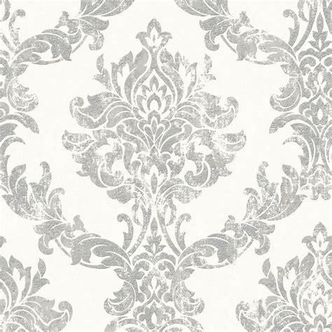 graham brown wallpaper vinyl opal damask white silver