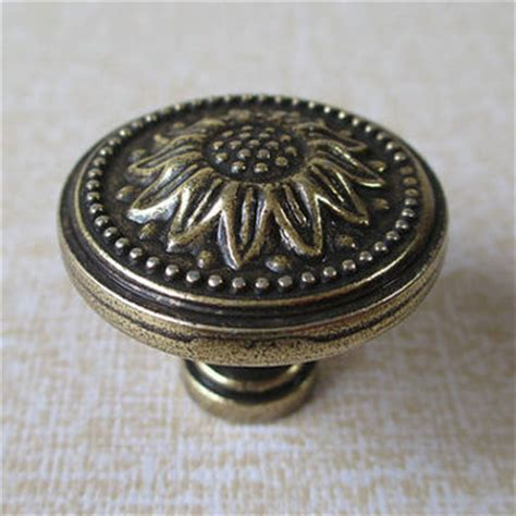 french country cabinet knobs sunflower antique brass dresser drawer from lynnshardware