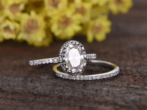 1 5 carat oval moissanite wedding sets 14k white gold bridal ring retro vintage eternity
