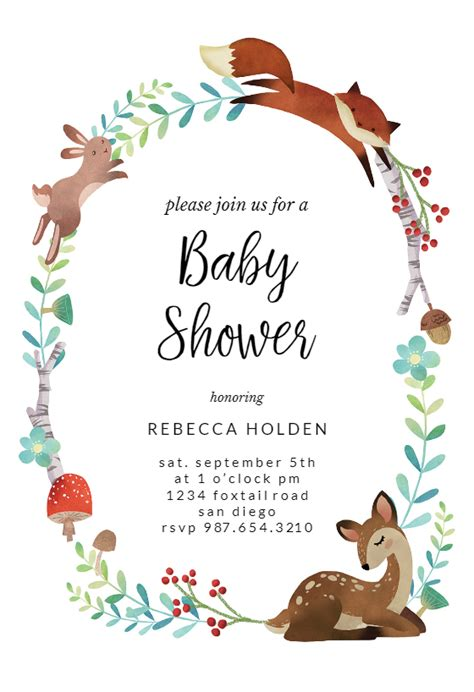 woodland animal wreath baby shower invitation template
