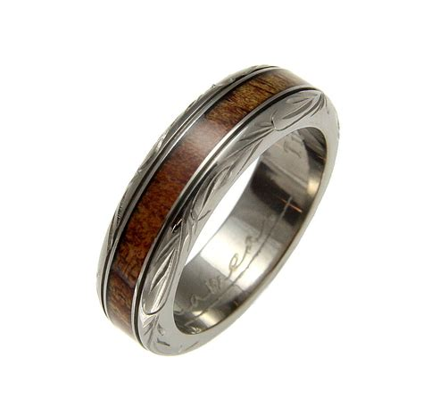 genuine inlay hawaiian koa wedding band ring titanium scroll 6mm size 4 ebay