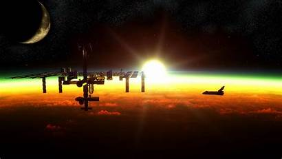 Space Spaceship Station Wallpapers Approaching Sun Iss