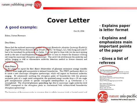 cover letter  nature  submission process