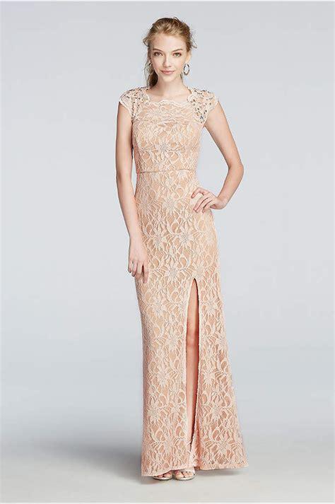 lace prom dress  side slit skirt