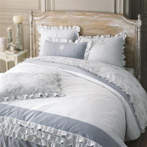 parure de lit 220 x 240 cm en coton blanche raphael maisons du monde