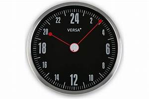 Horloge Pas Cher : horloge murale 24h noire et rouge horloge design pas cher ~ Teatrodelosmanantiales.com Idées de Décoration