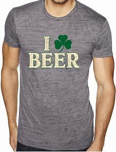 St Patricks Day Mens Shirt I Love Burnout Tee T Shirt