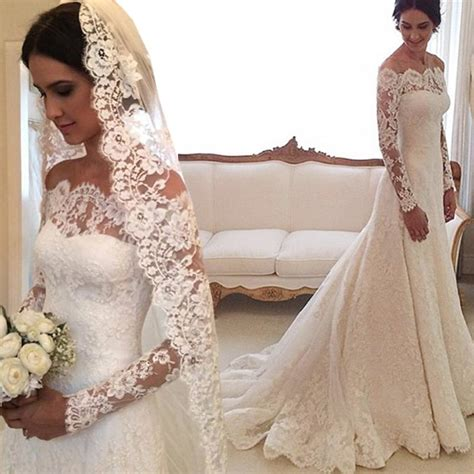 Boat Neck Wedding Dress Lace by Discount 2016 Lace Wedding Dresses Sleeves