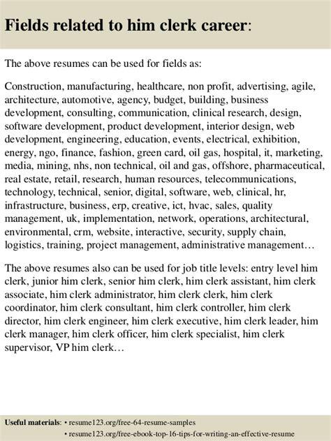 top 8 him clerk resume sles