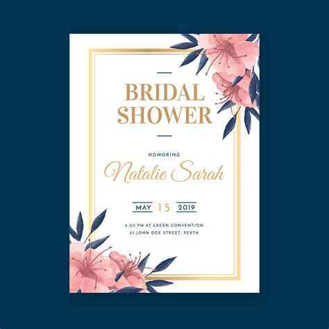 Floral Watercolor Bridal Shower Invitation Template