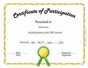 Certificate Of Participation Template Free Certificate Of Participation Template Recommendation Letter Template