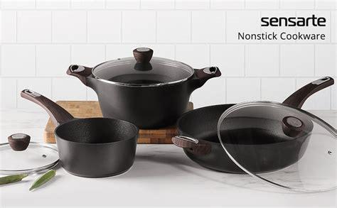 sensarte nonstick skilletdeep frying pan  glass lidcooking pan  soft bakelite handle