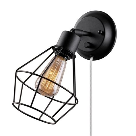 globe electric 1 light black shade in wall sconce