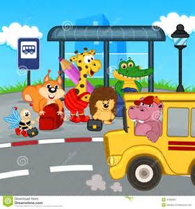 Waiting at Bus Stop School