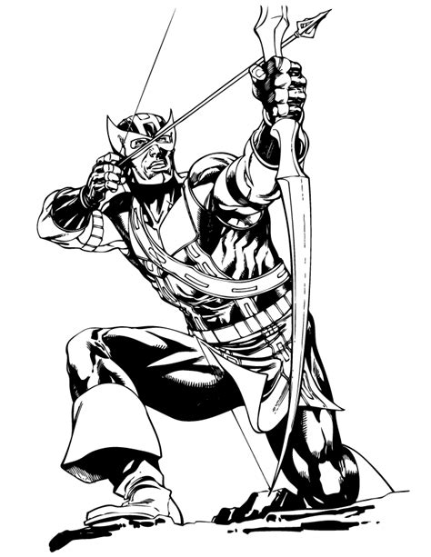 classic hawkeye comic book coloring page lineart