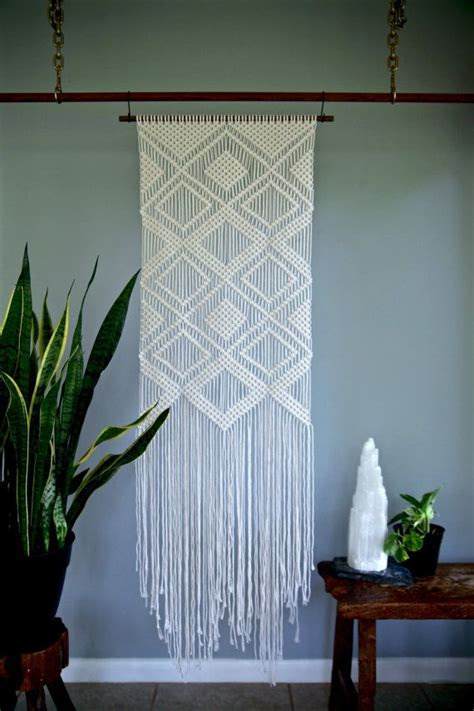 macrame wall hanging white cotton rope on by