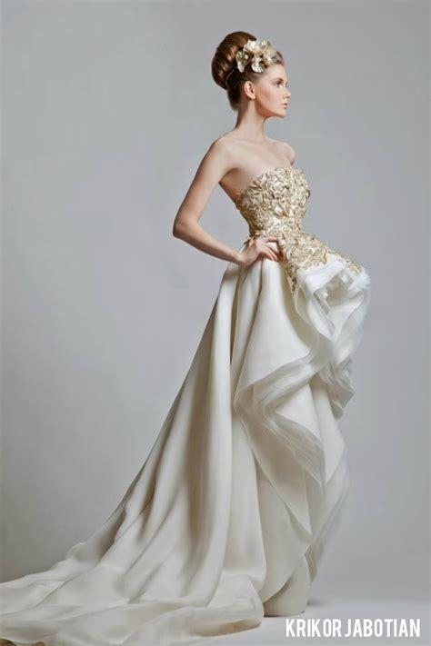 favorite krikor jabotian gold  white wedding gowns