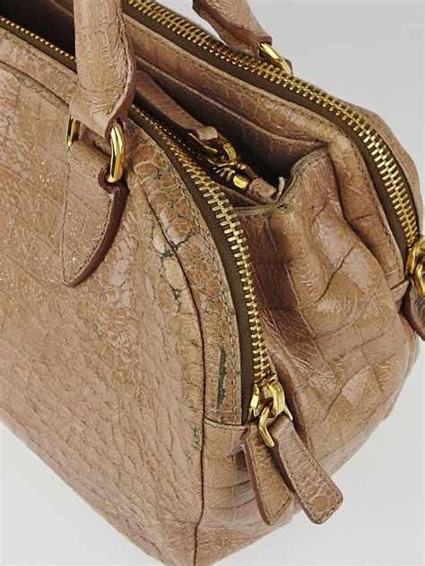 miu miu talco croc embossed patent leather mini bowling bag yoogis closet