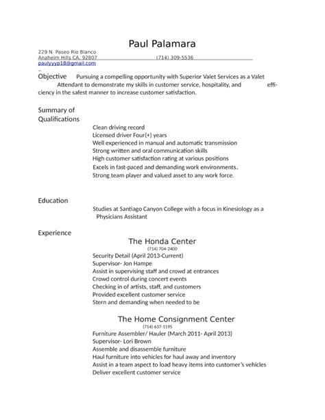 free simple resume templates professional valet attendant resume template