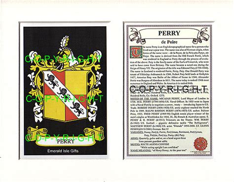 heraldic mounts perry family crest  history