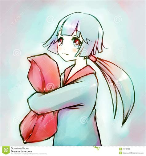 anime royalty free anime hugging a pillow stock illustration image