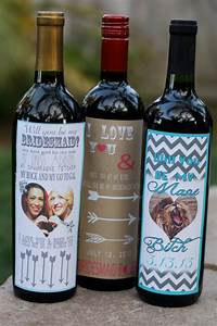 custom chevron bridesmaid wine bottle labels by With custom wine bottles for wedding