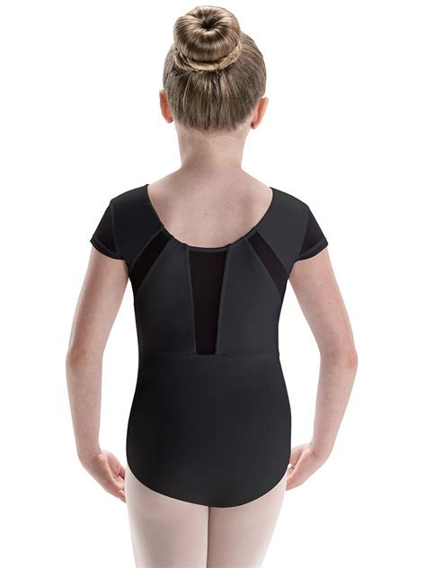 motionwear black mesh inset leotard