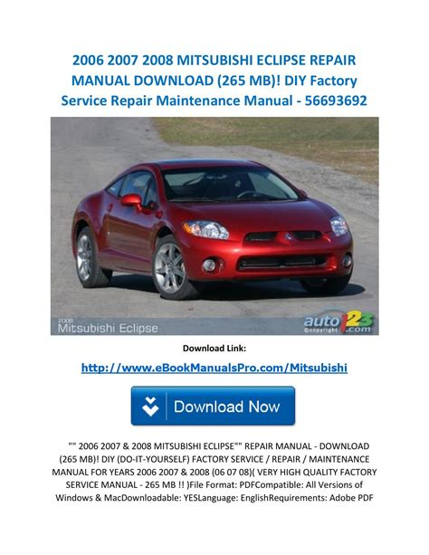 free online auto service manuals 2007 mitsubishi eclipse electronic toll collection 2006 2007 2008 mitsubishi eclipse repair manual download 265 mb diy factory service repair