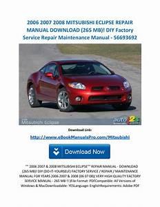 2006 2007 2008 Mitsubishi Eclipse Repair Manual Download