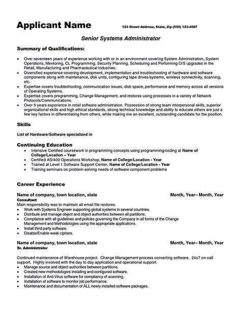 It Administrator Resume Sle by System Administrator Resume Includes A Snapshot Of The