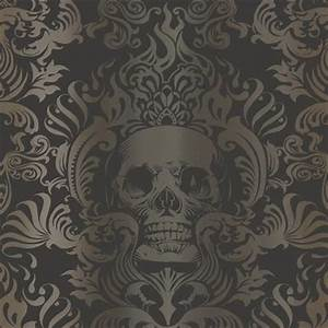 Gold Skull Wallpaper : skull damask is beautiful bath and paper ~ Markanthonyermac.com Haus und Dekorationen
