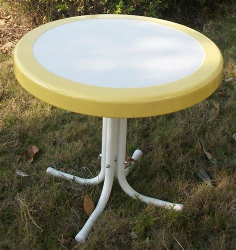 round metal outdoor table metal retro round table in yellow and white contemporary